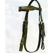 C08 Cabeçada C/ Enforcador Couro Argolas Inox P/ Cavalo Mula