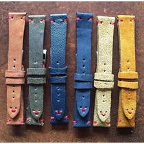 Pulseira Para Relógio Vintage Ou Rolex Pesponto Vermelho