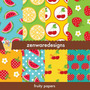 4 Kit Scrapbook Digital Frutas Picnic Maçãs Morango Melancia