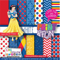 Kits Papel Scrapbook Digital Branca De Neve - Ml03