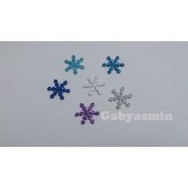 Apliques Em Eva Com Glitter- Floco De Neve - Frozen - 2,5 Cm