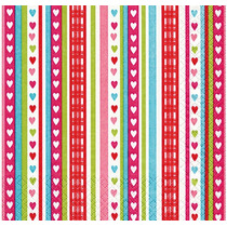 Kit Com 20 Guardanapos Para Decoupage Listras Com Corações