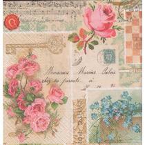 Kit C/ 20 Guardanapos Decoupage Rosas Vintage 33cm Tec