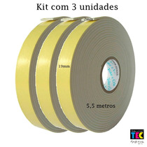 Kit C/ 3 Fitas Dupla Face Espuma Banana 5,5 Metros X 1,9cm