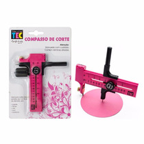 Compasso Cortador Circular + Kit Com 8 Tesouras De Picotar