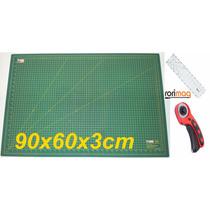 Base De Corte 90x60cm + Régua 60x15cm + Cortador Patchwork