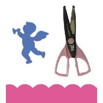 Kit 1 Furador Eva Scrap 2,5cm Anjo + Tesoura Artesanal Rio