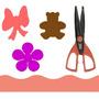Kit 3 Furadores Eva Papel 2,5 Laço Urso Flor + Tesoura Arte