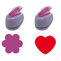 2 Furadores Eva 1,5cm Flor 6 Petalas + Coração Liso Tec