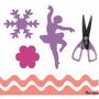 3 Furadores Papel 3,5cm Bailarina Flor Floco + Tesoura Arte