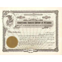 Apolice - Pennsylvania Transfer Company Of Pttsburg, Nº86
