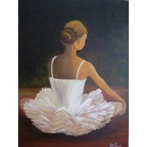 Pintura Em Tela (óleo), Quadro Desenho Artístico Bailarina