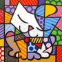 Pintura Em Tela - Gato - Releitura De Romero Britto