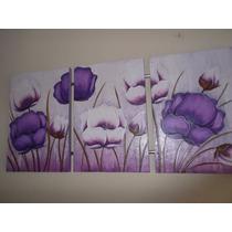 Promoção Quadro Jardim Florido Roxo, Tela Pintura A Mão