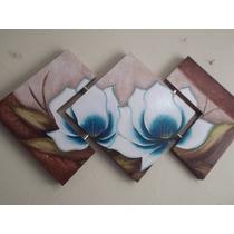 Promoção Quadro Tela Decorativa Flores Pintado A Mão Azul