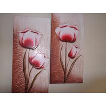 Super Promoção Par De Telas, Quadros Decorativos Flor Vermel