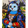 Quadro Tela - Painel Mona Cat - Romero Britto
