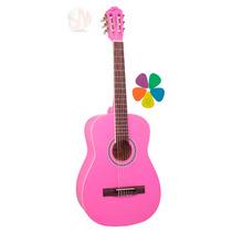 Violão Clássico Vogga Nylon Vca105 (rosa) Pink+acessórios