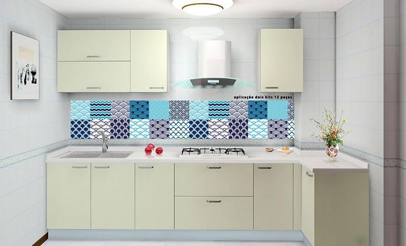 Adesivo Azulejo Parede Banheiro Retro 12 P 10 Cm Pictures to pin on Pinterest -> Banheiro Decorado Com Adesivo De Azulejo
