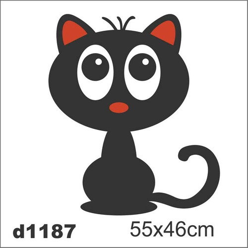 Aparador Vitrina El Corte Ingles ~ Adesivo D1187 Gato Preto Desenho Decorativo Intantil Quarto R$ 48,60 no MercadoLivre