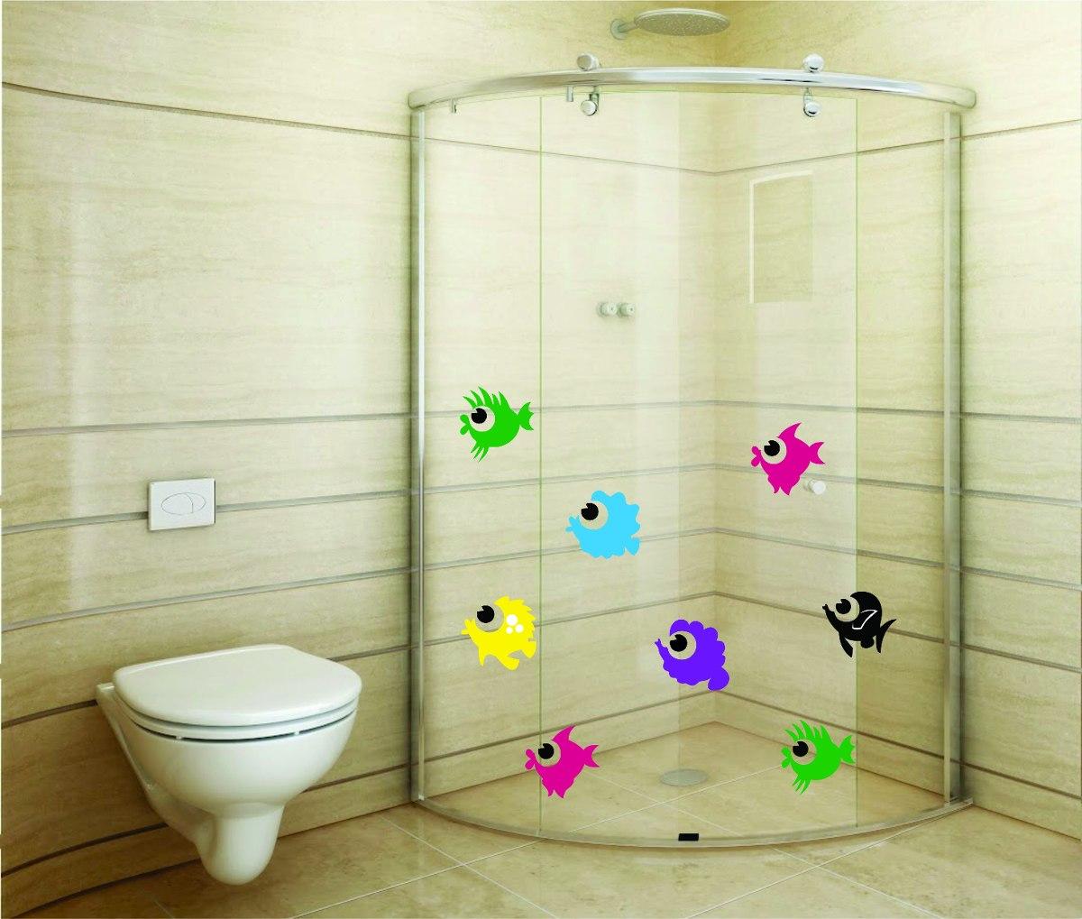 Adesivo De Parede Banheiro Box Kit 30 Peixes Coloridos R$ 17 99 no  #20C10A 1200 1019