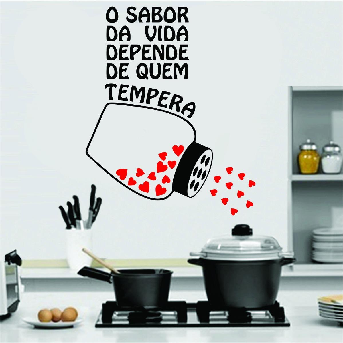 Adesivo Para Parede Herois ~ Adesivo De Parede Cozinha Geladeira Frase Coraç u00e3o Tempero R$ 27,99 no MercadoLivre