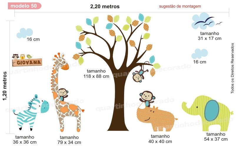 Decoracao Quarto Infantil Curitiba ~ Adesivo Decora??o Parede Quarto Bebe Infantil Zoo Animais  R$ 148