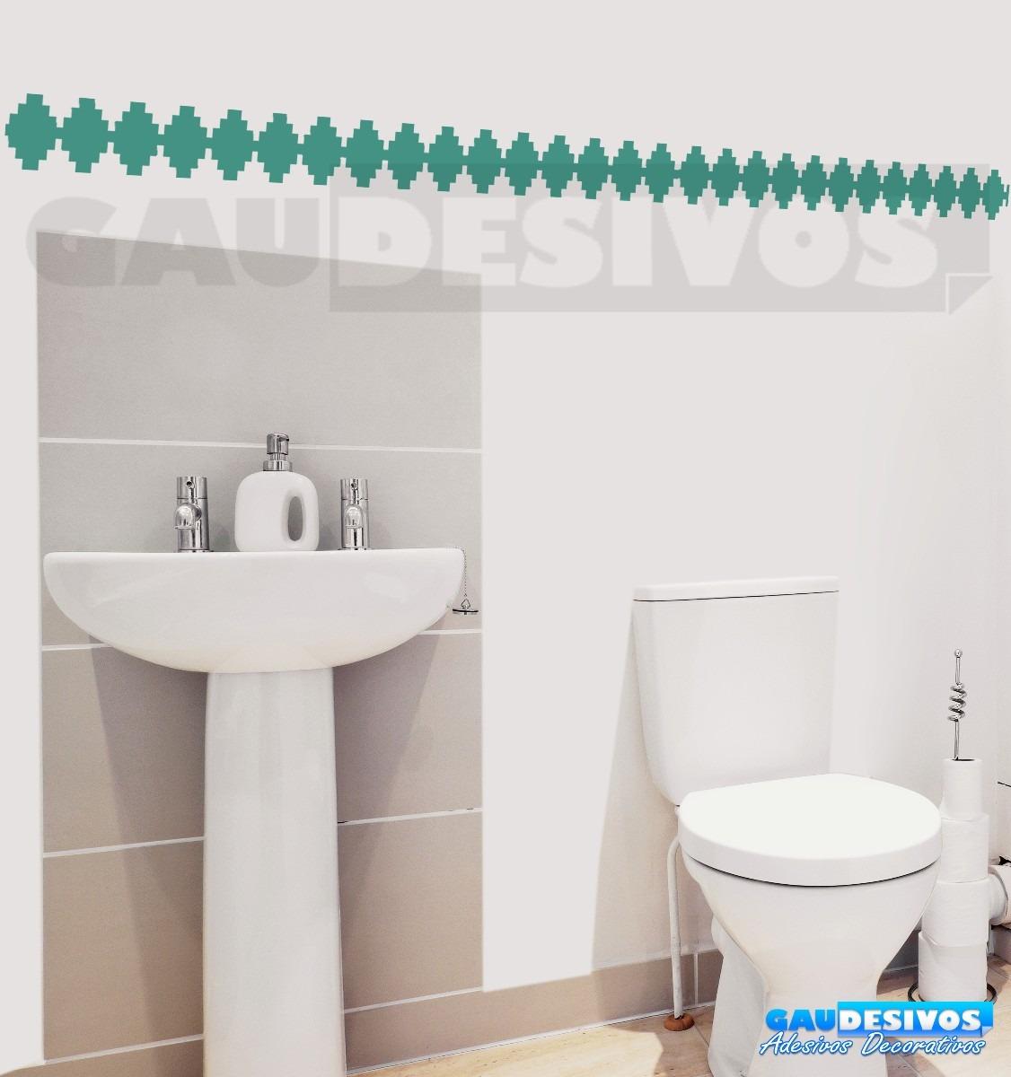 Adesivo Decorativo De Parede Faixa Border Azulejo Banheiro R$ 9 99  #0D6DBE 1126x1200 Azulejo Banheiro Parede
