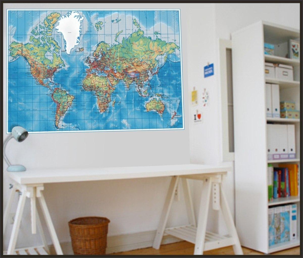 Armario Moderno De Cozinha ~ Adesivo Decorativo Para Paredes, Mapa Mundi Político Tam