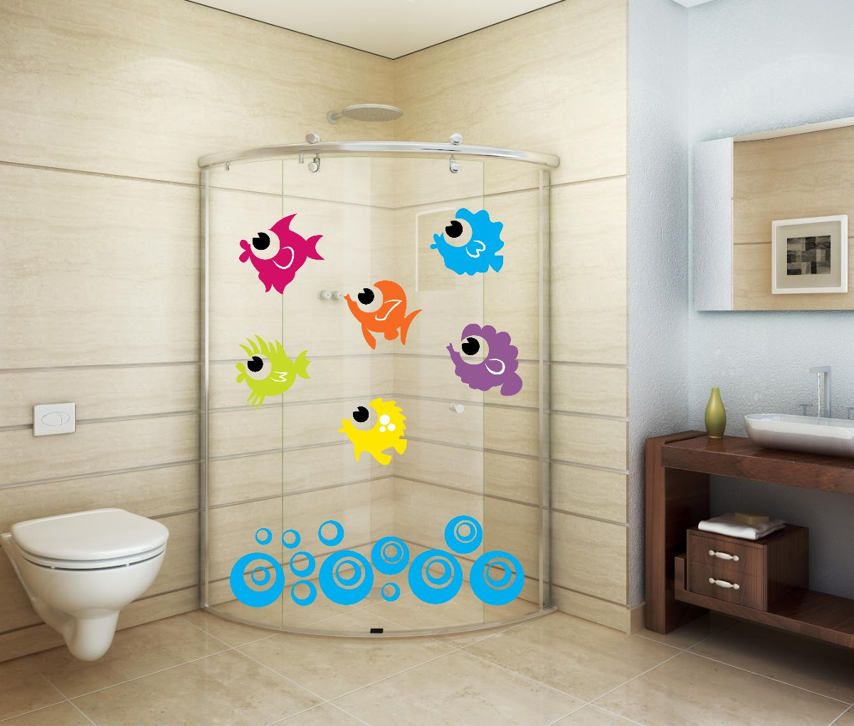 Adesivo Decorativo Parede Banheiro Porta Box Bolha Peixe R$ 24 99 no  #0991C2 1200x1020 Adesivo Box Banheiro Jateado