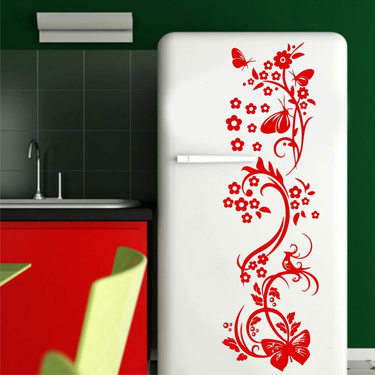 Aparador Verde Envejecido ~ Adesivo Decorativo Parede Floral Borboleta Box Geladeira R$ 19,99 no MercadoLivre