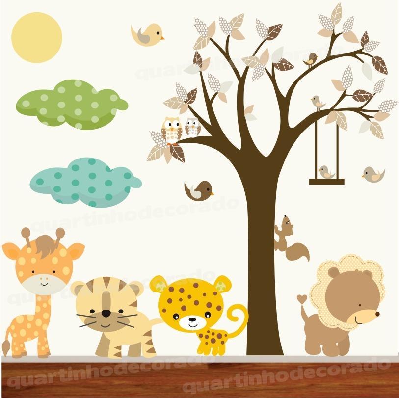 Armario Suspenso Lavanderia ~ adesivo decorativo parede safari infantil bebe zoo trenzinho