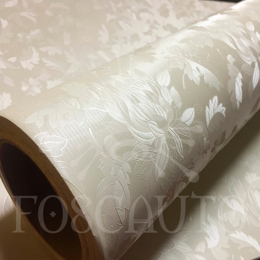 Adesivo decorativo pvc papel parede floral bege textura 3d for Papel de pared decorativo