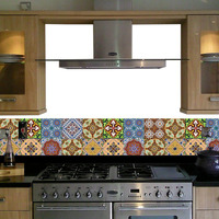 Adesivo Tipo Azulejo Mosaico Português - 12 Peças