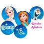 Toppers Tag Adesivo Para Doces Tema Frozen 70 Unidades 3cm