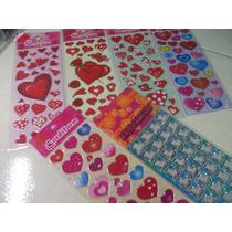 Corações Sortido Kit Cartela Adesivo Stickers C/ 12 Cartelas