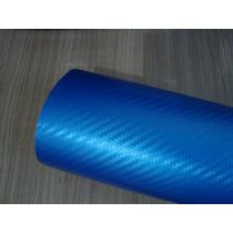 Adesivo Fibra De Carbono Perolizada Brilhante Azul Moldável