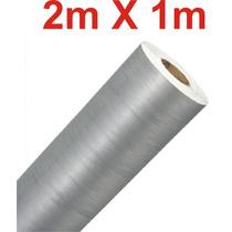 Adesivo Aço Escovado Prata Envelopamento Automotivo 2m X 1m