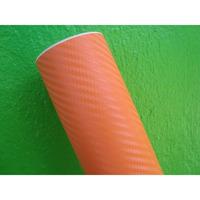 Adesivo Fibra De Carbono Laranja Envelopamento 50x138cm Fosc