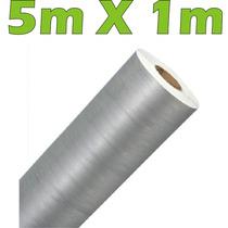 Adesivo Aço Escovado Prata Envelopamento Automotivo 5m X 1m