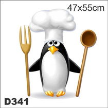 Adesivo Decorativo Divertido Pinguim Chef De Cozinha D341