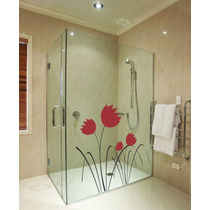 Adesivo Decorativo De Parede Box Vidro Banheiro Floral Flor