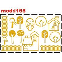 Adesivo I165 Casa Casinha Cerca Cerquinha Árvores Plantas