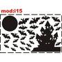 Adesivo I15 Lua Cheia Morcegos Castelo Halloween