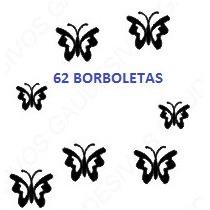 Adesivo De Parede Decorativo Kit Com 62 Borboletas Espalhada
