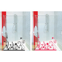 Adesivo Decorativo Parede Banheiro Porta Box Floral Flores