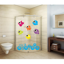 Adesivo Decorativo Parede Banheiro Porta Box Bolha Peixe