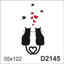 D2145 Adesivo Decorativo Casal De Gatos Gatinho Pássaro Amor