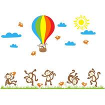 Adesivo Macaquinhos Quarto Infantil Balão Macacos 1,20m