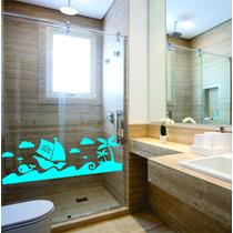 Adesivo Decorativo Parede Banheiro Box Mar Barco Nuvem Peixe